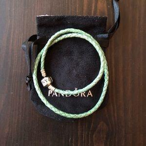 PANDORA Seafoam Double Leather Bracelet